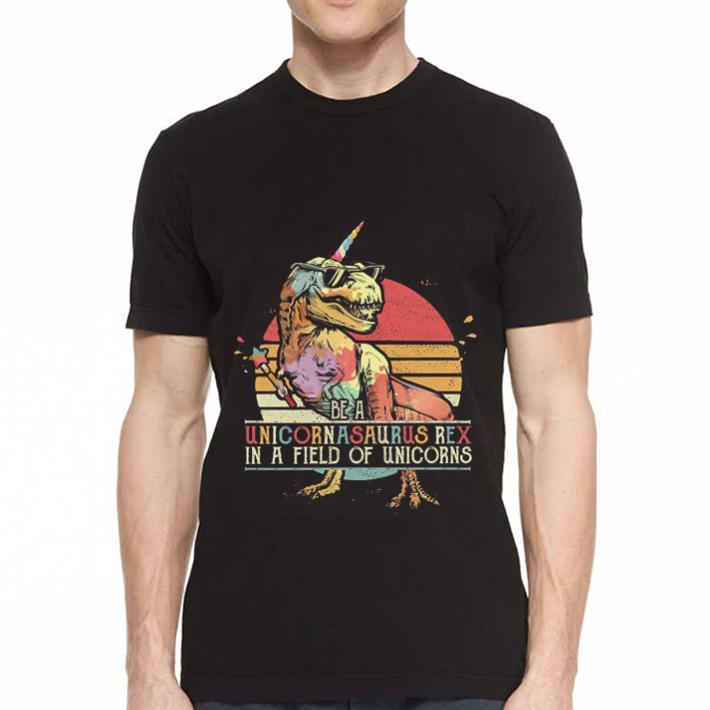 Sunset Be a Unicornasaurus Rex in a field of unicorns shirt 2