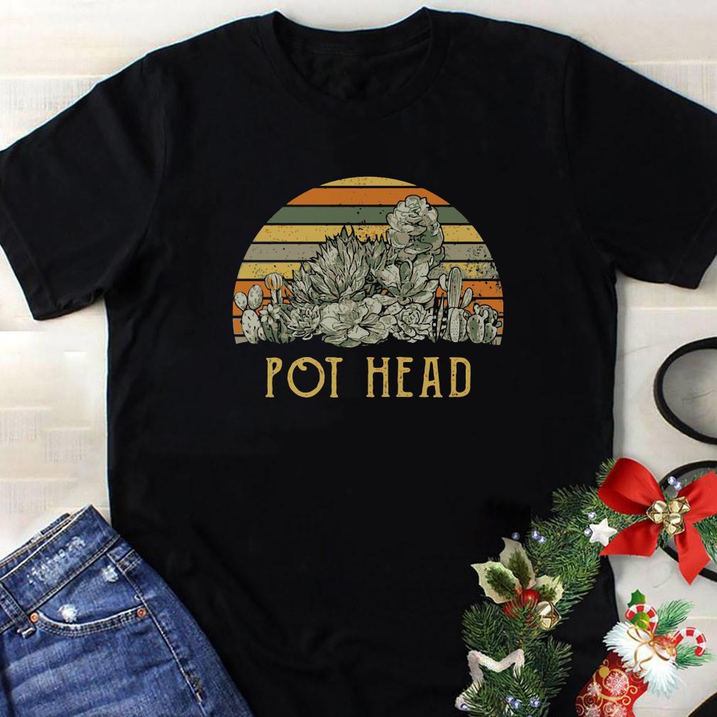 Sunset retro Cactus pot head shirt 1