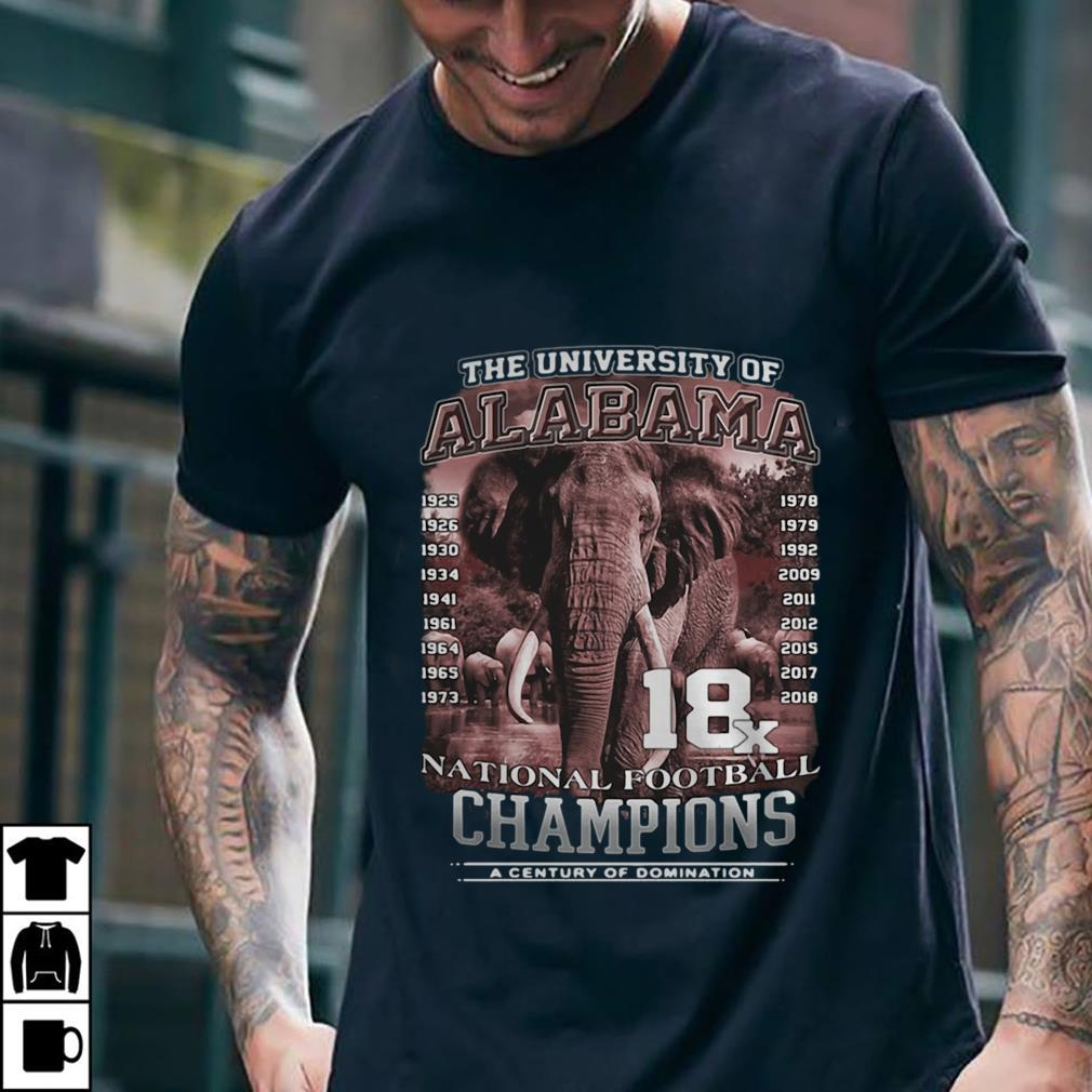 - The University of Alabama 18x National Football Champions a century of domination shirt