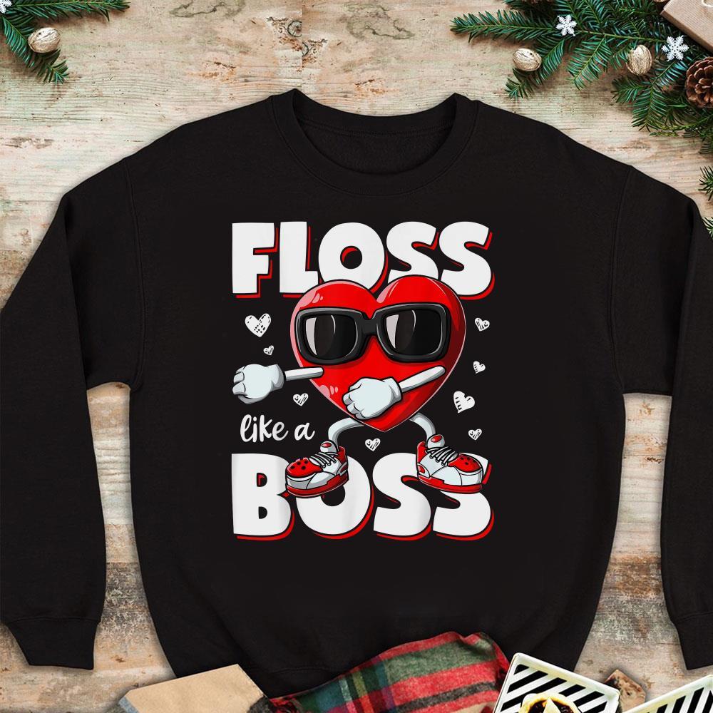 - Valentine Heart Floss Like A Boss shirt