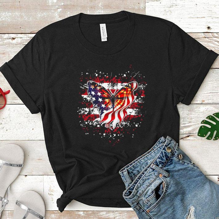 Butterfly Flag America July 4th shirt 1