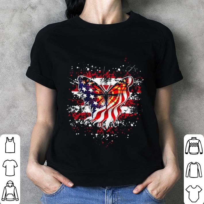 Butterfly Flag America July 4th shirt 3