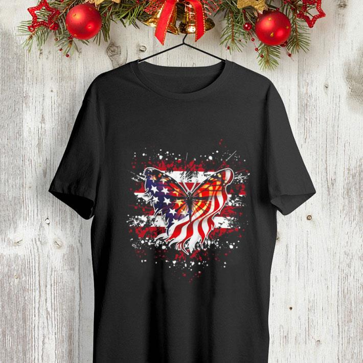 Butterfly Flag America July 4th shirt