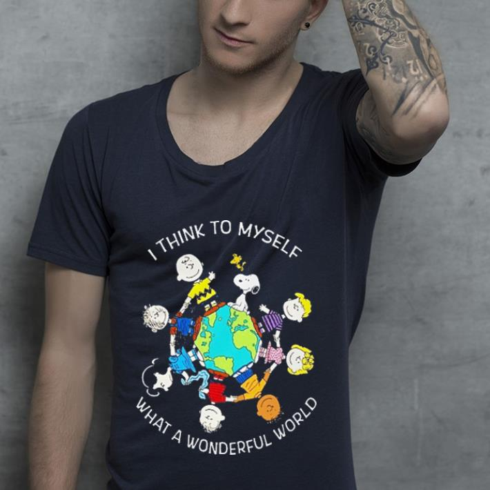 Snoopy & Charlie Brown i think to myself what a wonderful world shirt 2