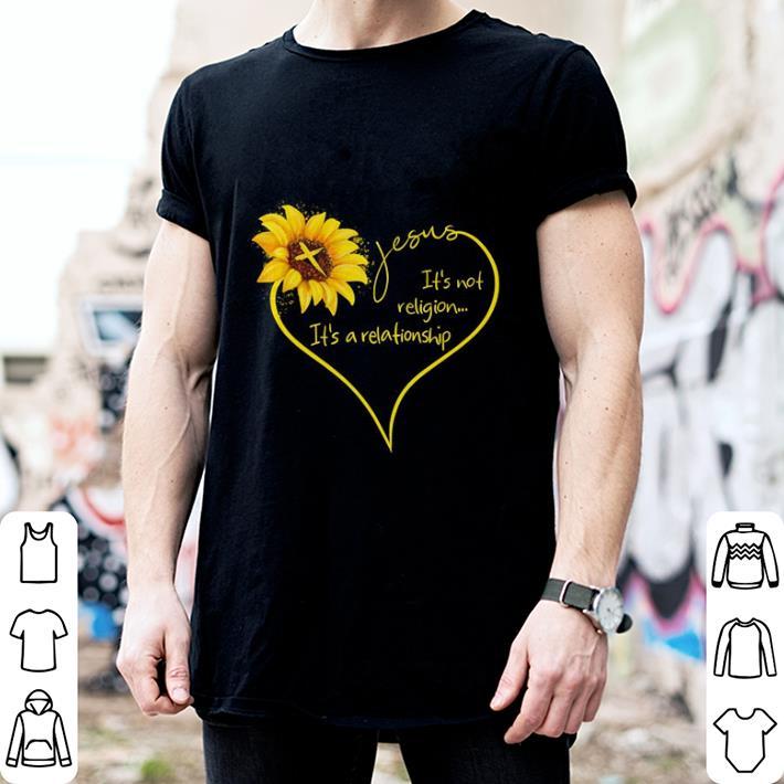 Sunflower Jesus it's not religion it's a relationship shirt 2