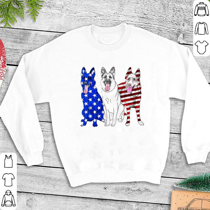 German Shepherd Red white and blue American flag shirt 1