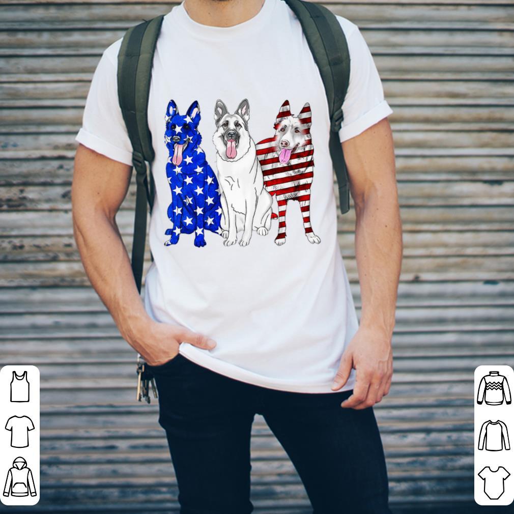 German Shepherd Red white and blue American flag shirt 2