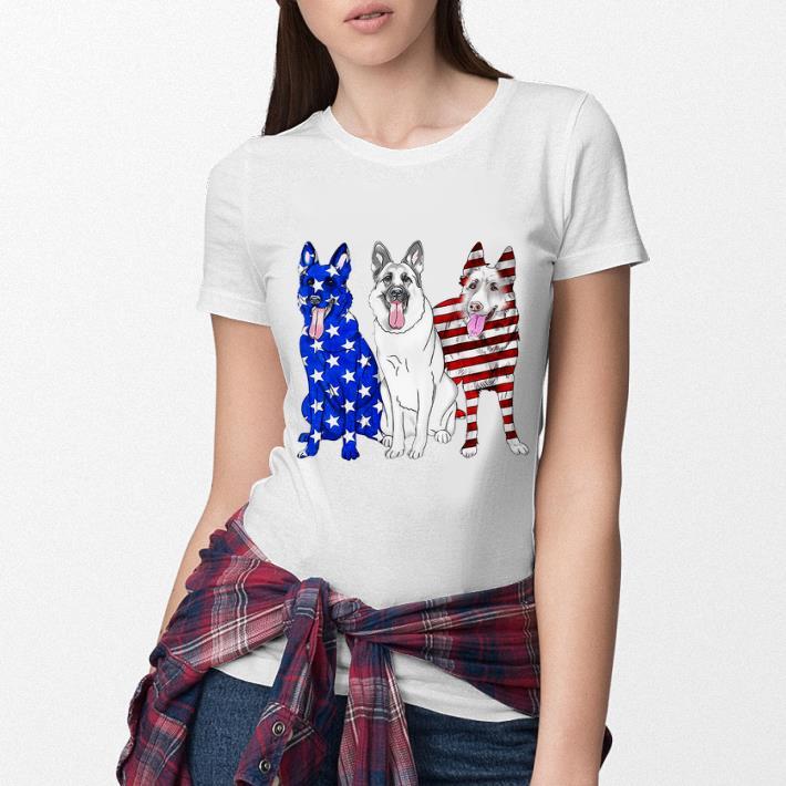 German Shepherd Red white and blue American flag shirt 3