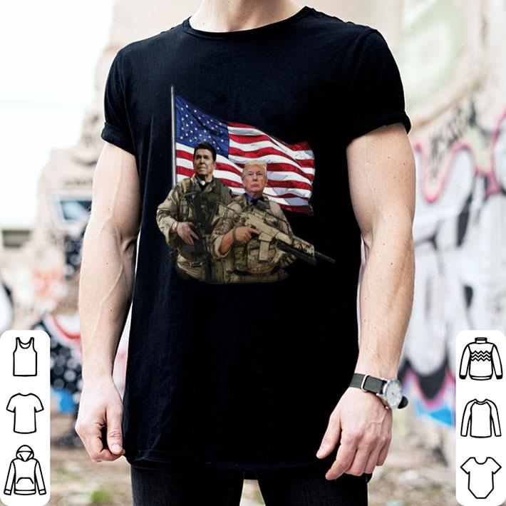 - Presidential soldiers Ronald Reagan and Donald Trump USA flag shirt