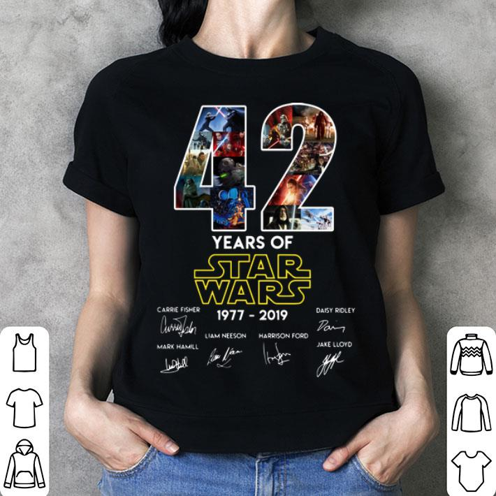 - 42 years of Star Wars 1977-2019 signatures shirt