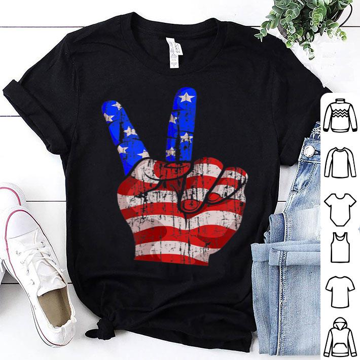 - 4th Of July Peace Sign Hand American Flag Patriotic shirt