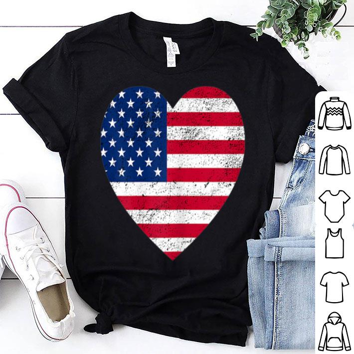 - 4th of July Heart American Flag Design Vintage shirt