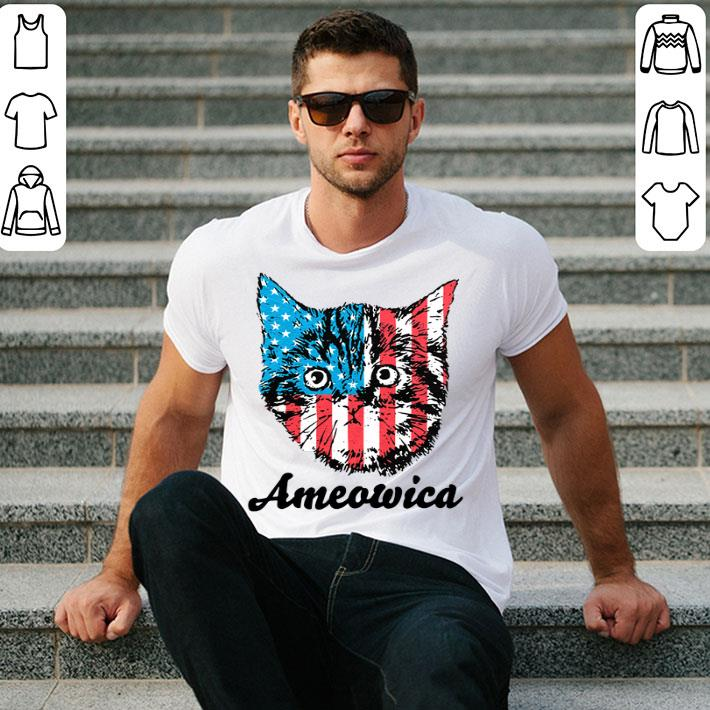 - Ameowica Cat 4th of July Independence Day American flag shirt