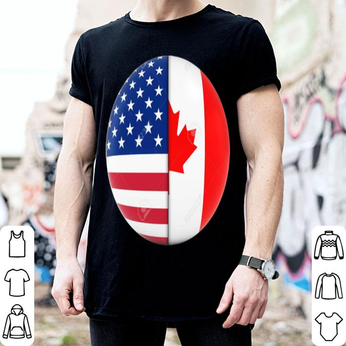 - American and Canadian Flag love shirt