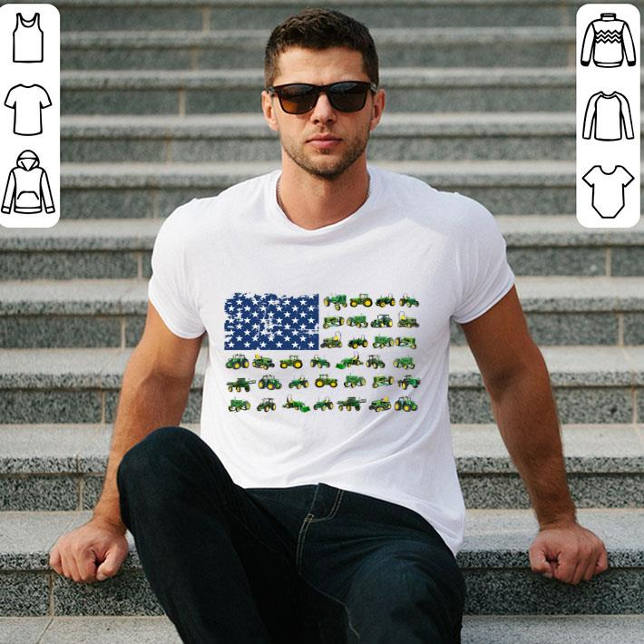 - American flag green Farm Tractor 4th of july independence day shirt