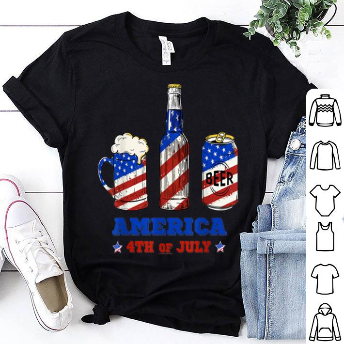 - Beer Drinking USA Flag Beer Lover America 4th Of July shirt