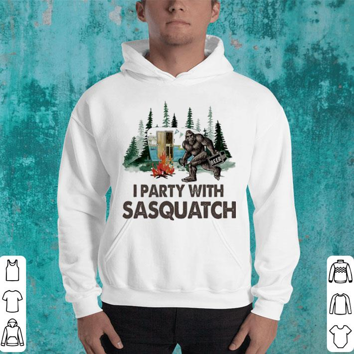Bigfoot i party with sasquatch camping shirt