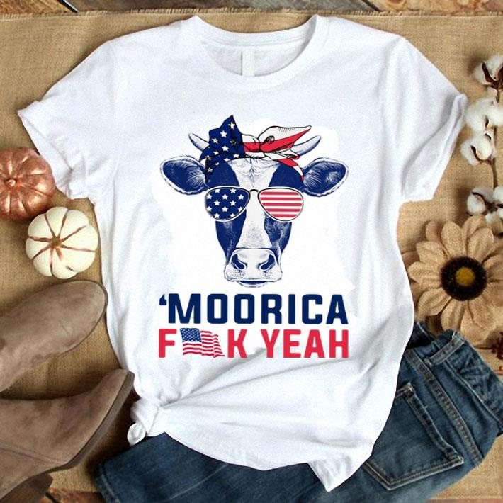 - Cow American flag Moorica fuck yeah shirt