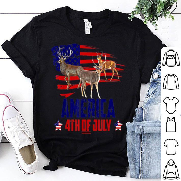 - Deer Patriotic America Flag 4th Of July shirt