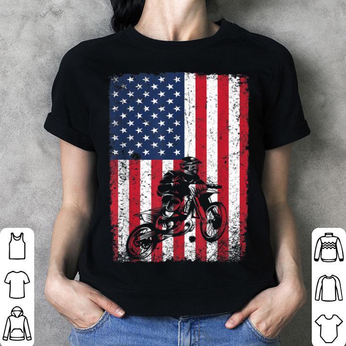 Dirt Bike American Flag 4th of July Motorcross shirt