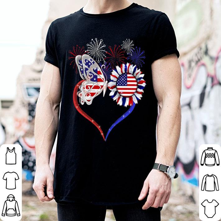 - Fireworks Butterfly love sunflower American flag shirt