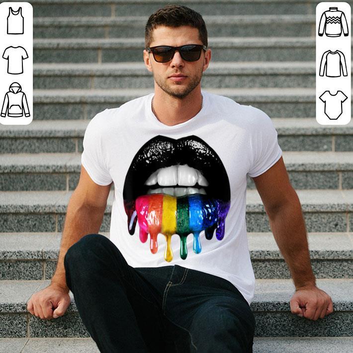 - Glossy Rainbow Lips LGBT Pride shirt
