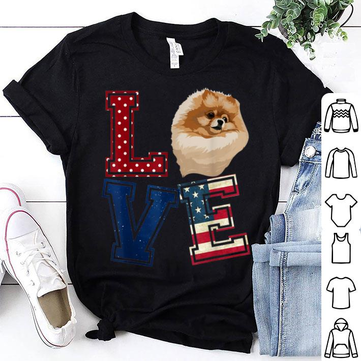 - Love Pomeranian American Flag Patriotic 4th Of July shirt