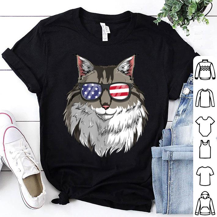 - Maine Coon Cat Patriotic USA 4th of July American Flag shirt
