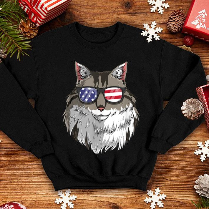 Maine Coon Cat Patriotic USA 4th of July American Flag shirt