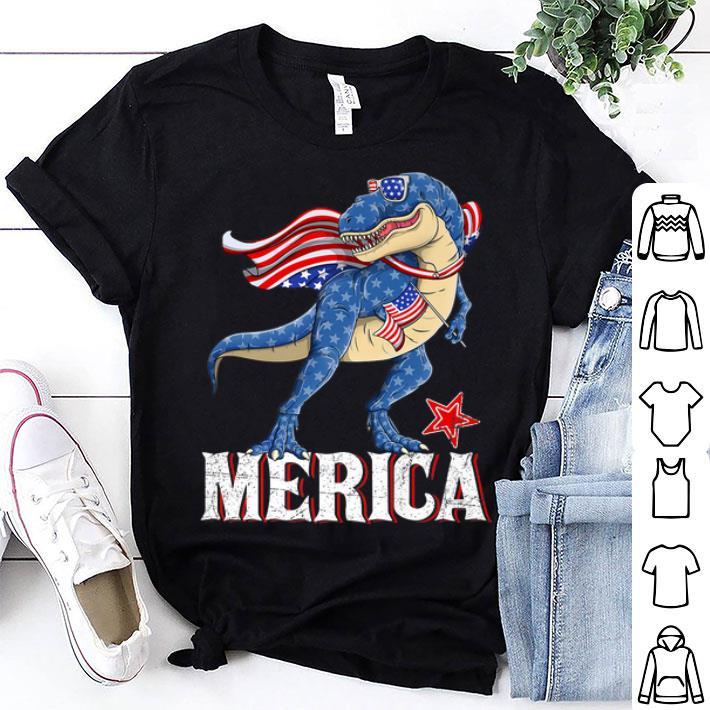 - Merica T-Rex Dinosaur American 4th Of July American Flag shirt