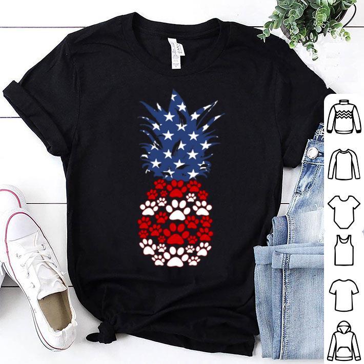 Paw dog pineapple American flag shirt