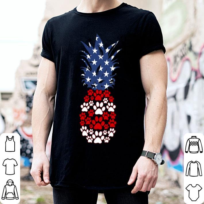 - Paw dog pineapple American flag shirt