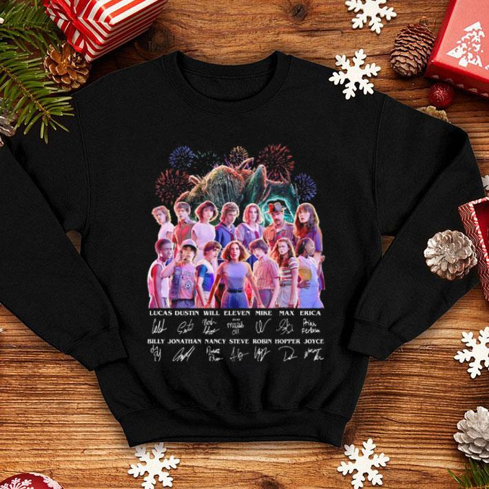 - Stranger Things all character signatures Lucas Dustin Will Eleven shirt