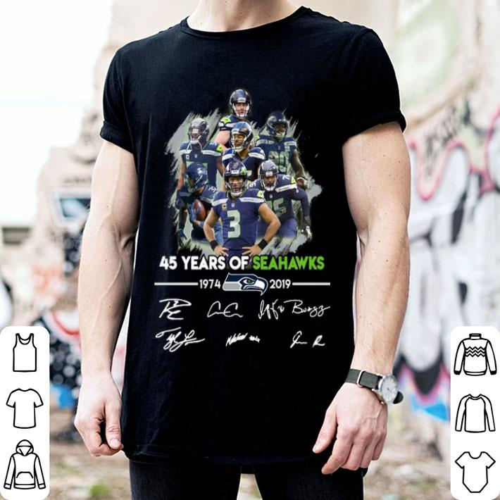 - 45 years of Seattle Seahawks 1974-2019 signatures shirt