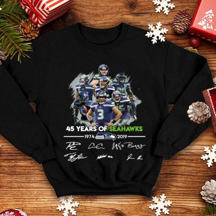 45 years of Seattle Seahawks 1974-2019 signatures shirt