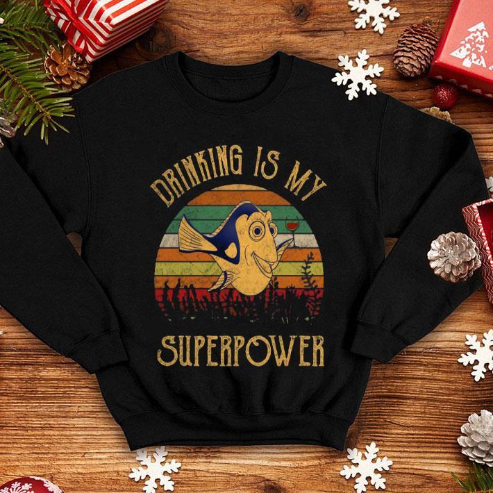 Wine Christmas Tree Shirt.Dory Wine Drinking Is My Superpower Vintage Shirt Hoodie Sweater