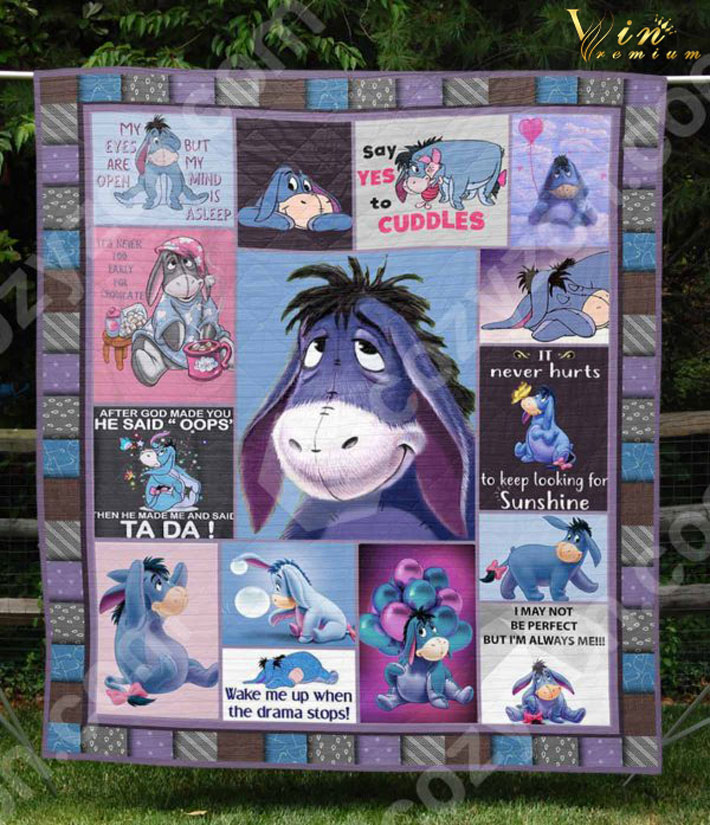 - Eeyore Wake me up when the drama stops quilt blanket
