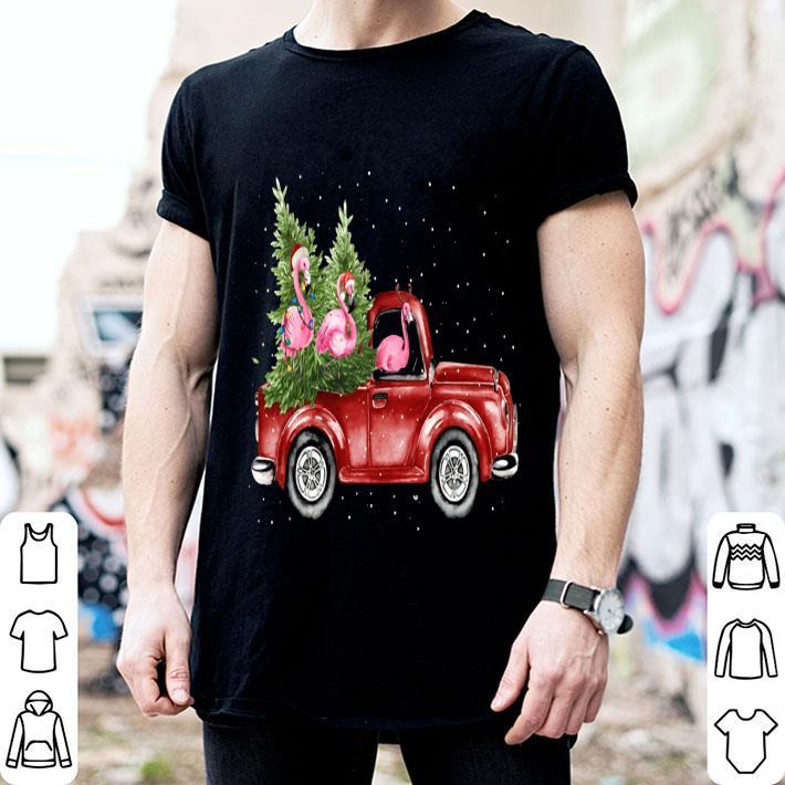 - Flamingos ride red truck Christmas shirt