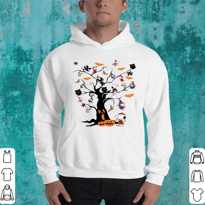 - Halloween Snoopy Woodstock owl bats ghost Boo on the tree shirt