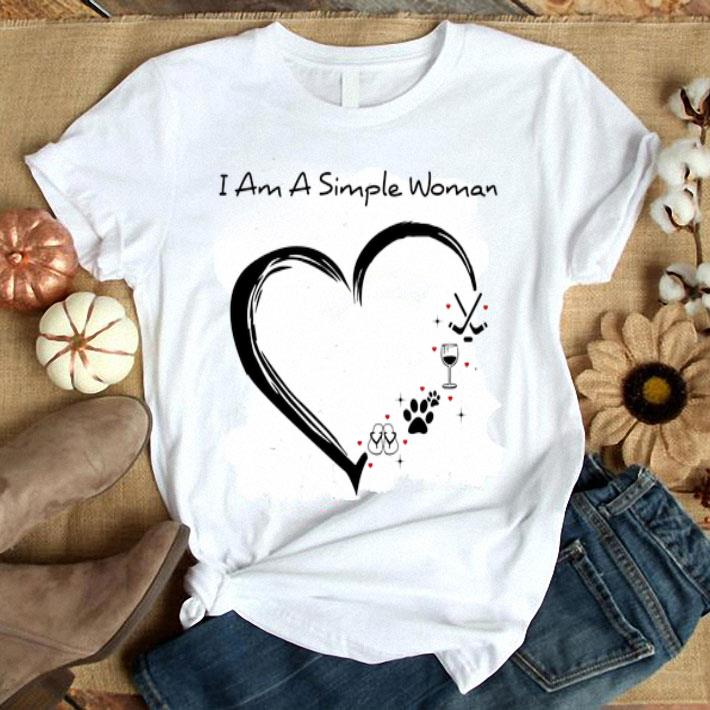 I am a simple woman i love flip flop paw dog wine glass hockey shirt