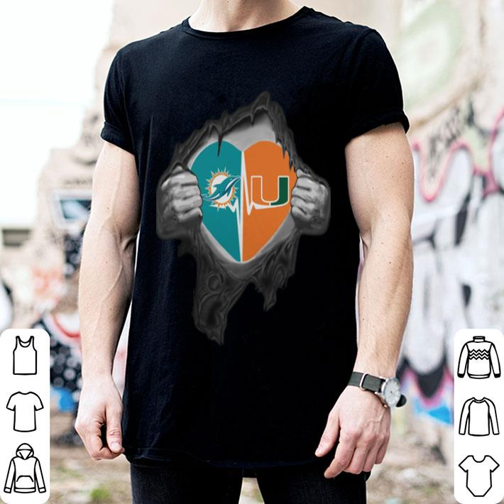 - Miami Dolphins Miami Hurricanes inside my heart shirt