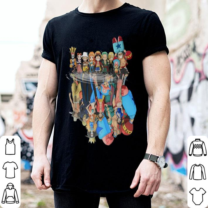 - Chibi characters One Piece reflection water mirror shirt