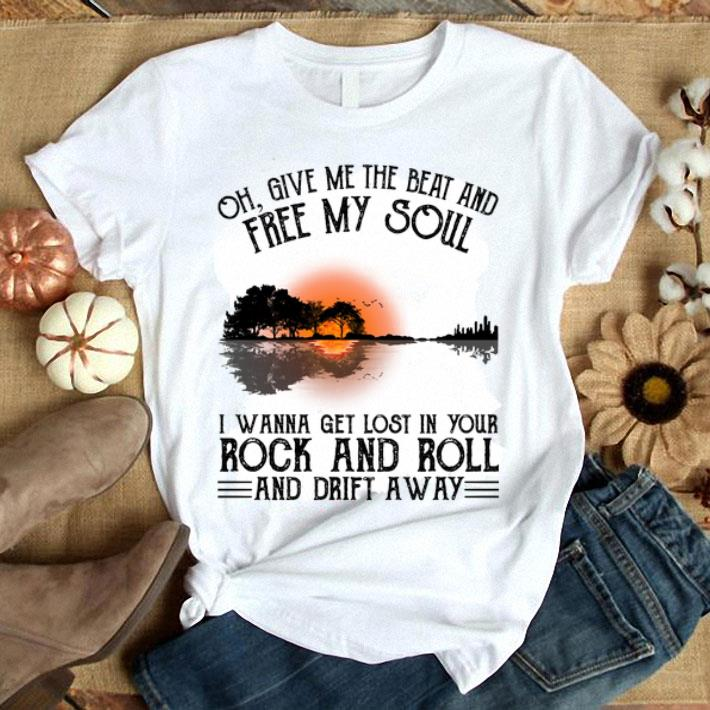 Clickbuypro Unisex Tshirt Guitar Lake Oh Give Me The Beat And Free My Soul Rock And Roll Shirt T-shirt Navy M
