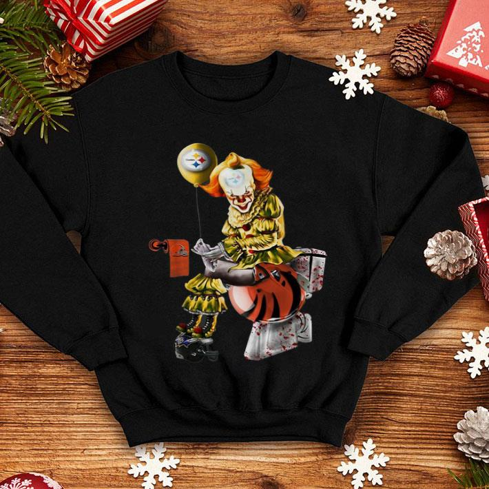 Cleveland Browns Christmas Sweater.Pennywise Steelers Cleveland Browns Cincinnati Bengals Toilet Shirt Hoodie Sweater