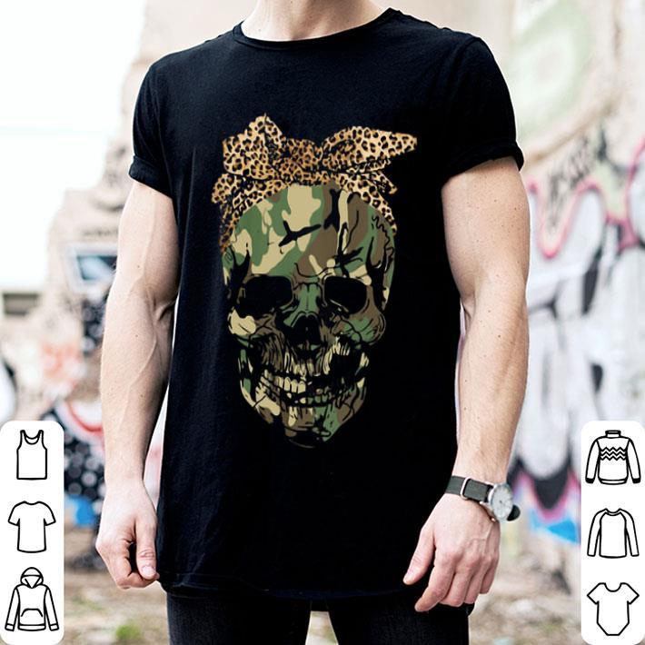 - Veteran skull wearing bandana leopard shirt