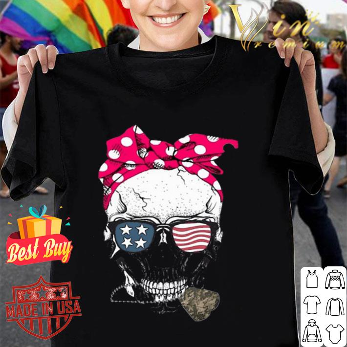 - Girl Veteran Skull American flag shirt