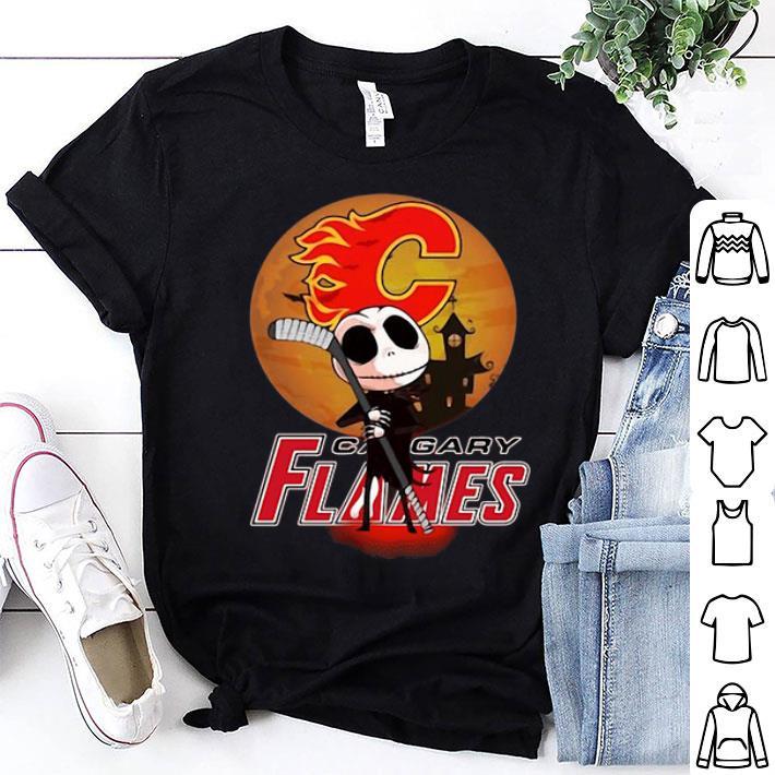 - Jack Skellington Holding Hockey Stick Calgary Flames shirt