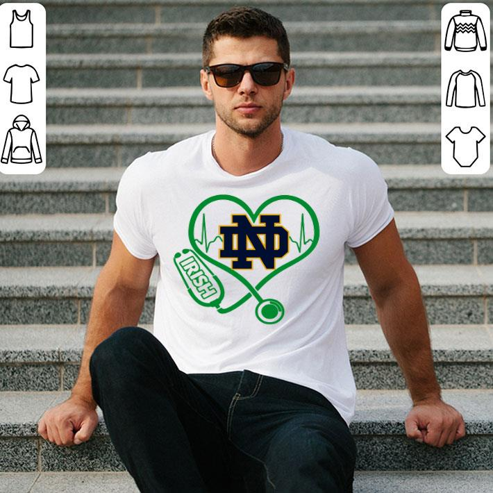 - Love Notre Dame Fighting Irish Stethoscope Heartbeat nurse shirt