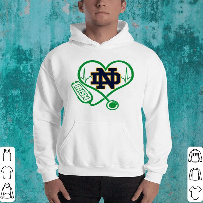 Love Notre Dame Fighting Irish Stethoscope Heartbeat nurse shirt