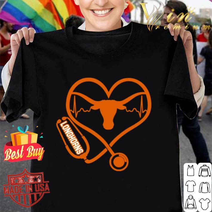 - Love Texas Longhorns Stethoscope Heartbeat nurse shirt